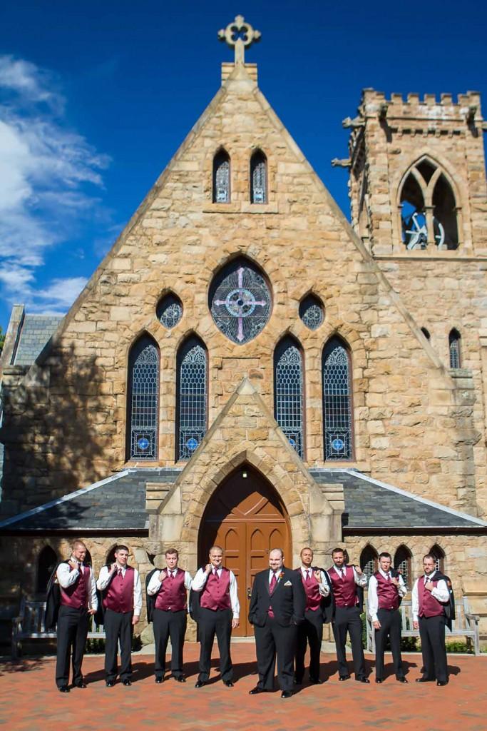 bridal party at uva chapel