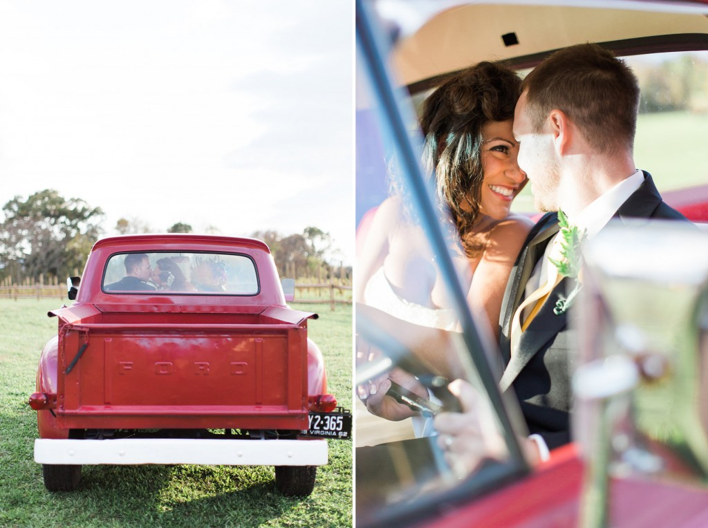 red truck for wedding portraits
