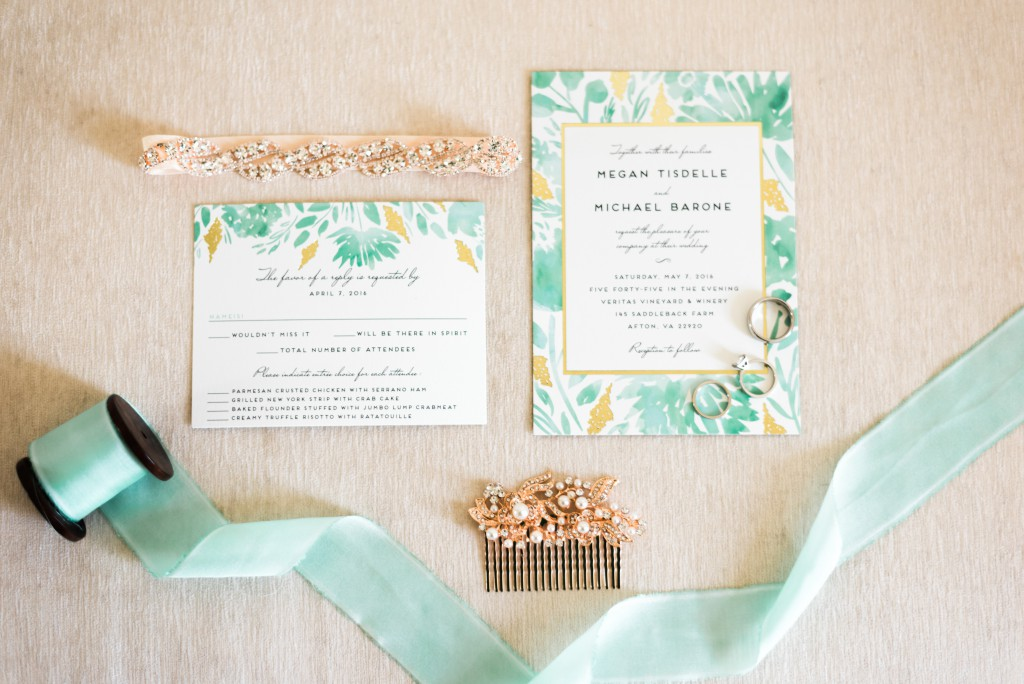 teal wedding invitation suite