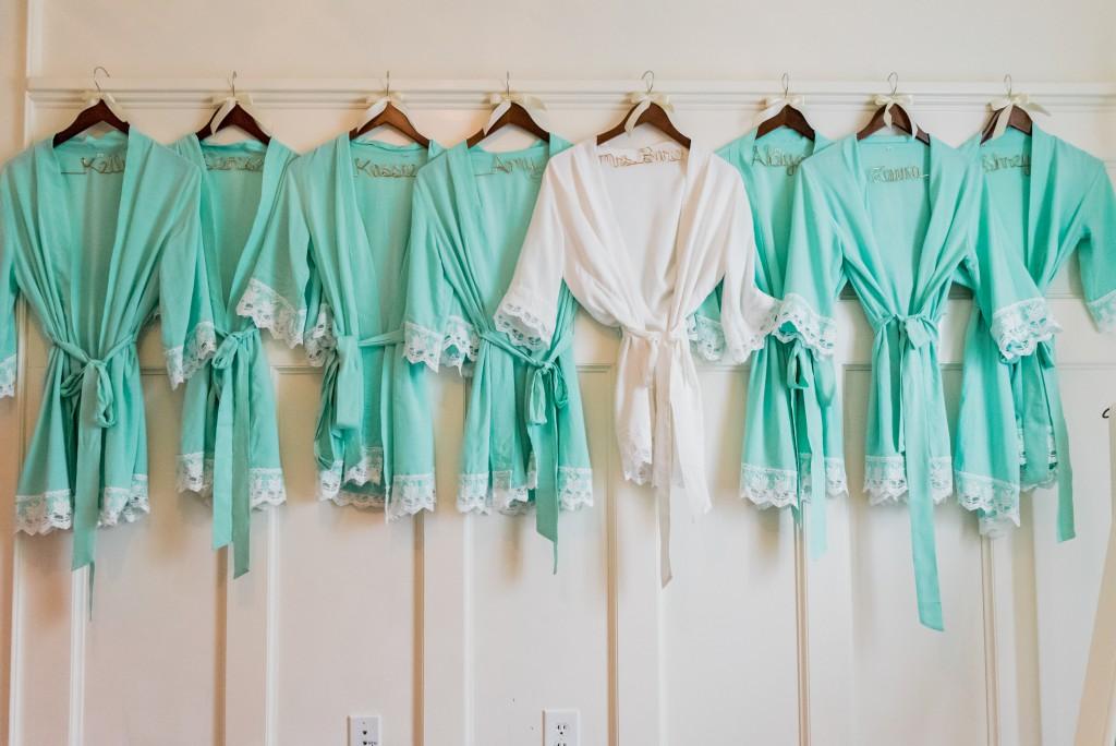 bridesmaid robes teal